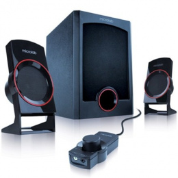 Microlab M-111 2.1 Speakers/ 12W RMS (3Wx2+7W)/ wired Remote Control with MP3 input & Headphone output/black Microlab 2.1, 12 W