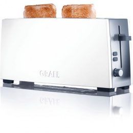 Toaster GRAEF. TO 91 Stainless steel, Biały, Stainless Stee/Acrylic, 880 W, Number of slots 1, Number of power levels 6, Bun war