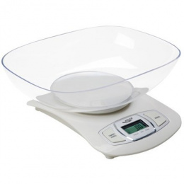 Adler AD 3137 Kitchen scales, Capacity 5 kg , Graduation 1g, Big LCD Display, Auto-zero/Auto-off, Large bowl, Biały Adler Adler